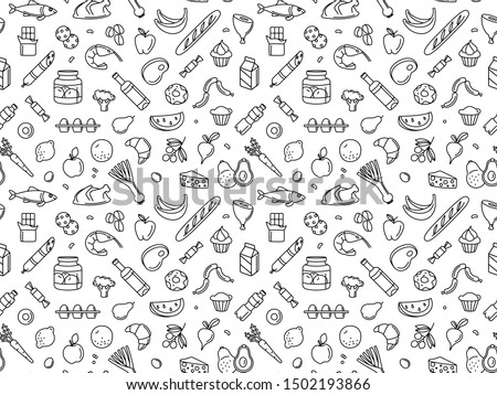 Supermarket grocery store food, drinks, vegetables, fruits, fish, meat, dairy, sweets market products goods seamless thin line icons background pattern. Vector illustration in linear simple style.