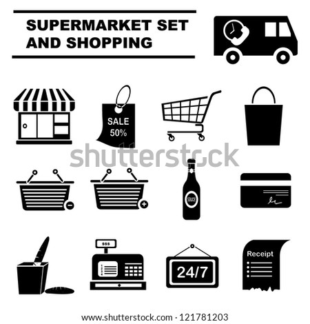 supermarket icon set and shopping set