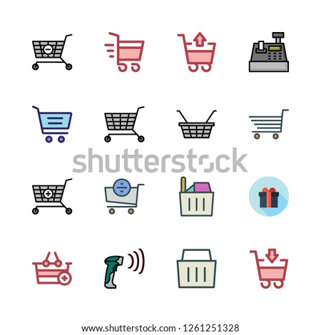 supermarket icon set. vector set about barcode scanner, cash register, shopping cart and shopping basket icons set.