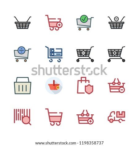 supermarket icon set. vector set about shopping cart, trolley, barcode and cart icons set.