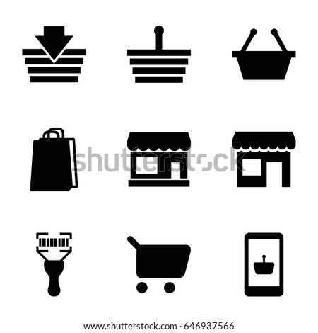 supermarket icons set set of 9