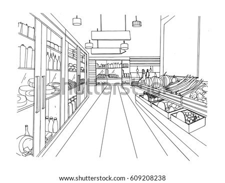 Supermarket interior hand drawn black and white illustration. Grocery store.