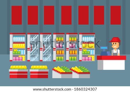 Supermarket interior. Pixel art. Old school computer graphic. 8 bit video game. Game assets 8-bit sprite. 16-bit.