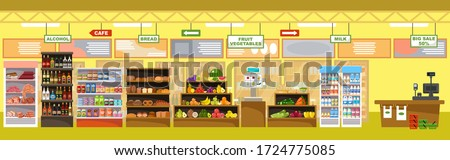Supermarket interior with products and cash register. Big store. Vector illustration