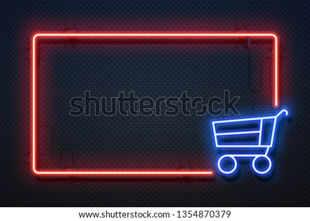 Supermarket neon sign. Hypermarket light banner with glowing frame and cart, online ecommerce. Vector special offer background. Concept of Black friday, sale and promo invitation night shopping offer