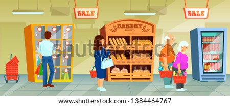 Supermarket people buyers in shopping mall. Elderly couple with purchases, man near storage room, bakery products. Interior of store, mall, shopping center, with grocery counters. Cartoon vector.