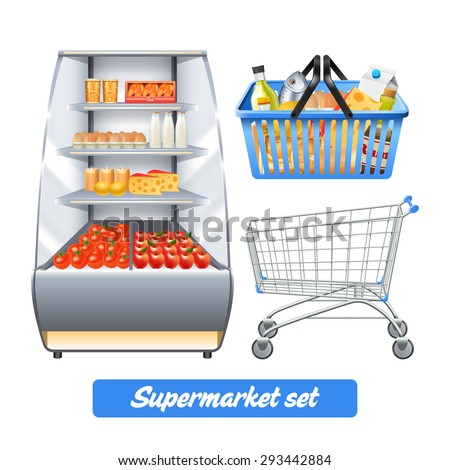 supermarket set with realistic