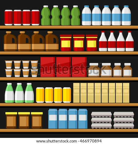 Supermarket. Shelfs Shelves with Products and Drinks. Vector #466970894