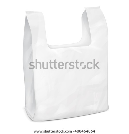 Supermarket Shopping Vest Handle Disposable Plastic Bag Package. Illustration Isolated On White Background. Mock Up Template Ready For Your Design. Product Packing Vector EPS10