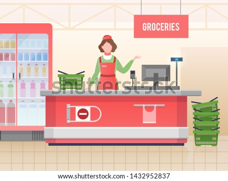 Supermarket store assistant. Happy cashier woman sales food in grocery hypermarket. Retail service, supermarket shopping and clerk or retailer in shop, paying vector image