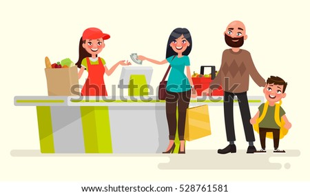 Supermarket store cashier at the cash register and buyers. Vector illustration in cartoon style