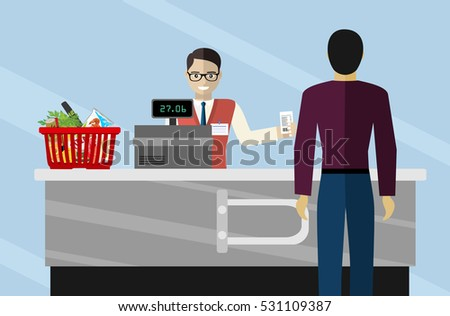 Supermarket store cashier man or sales clerk at store. cashier working in the grocery store serving a customer