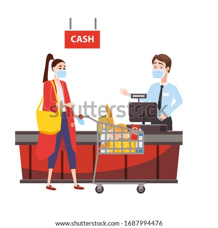 Supermarket store counter cashier and buyer in medical mask, with a basket of food. Quarantine coronavirus 2019-nCoV in the store. Cartoon style vector illustration isolated on white background
