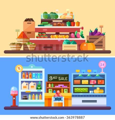 supermarket store indoor with