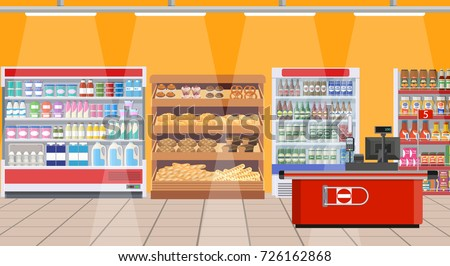 Supermarket store interior with goods. Big shopping mall. Interior store inside.