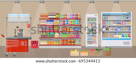 Supermarket store interior with goods. Big shopping mall. Interior store inside. Checkout counter, grocery, drinks, food, fruits, dairy products. Vector illustration in flat style.