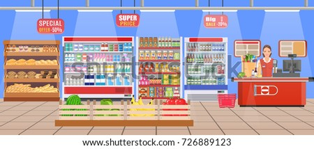 Supermarket store interior with goods. Big shopping mall. Interior store inside. Sales Woman Stand Near Cash Desk Vector illustration in flat style