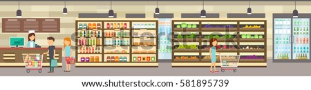 supermarket store with goods