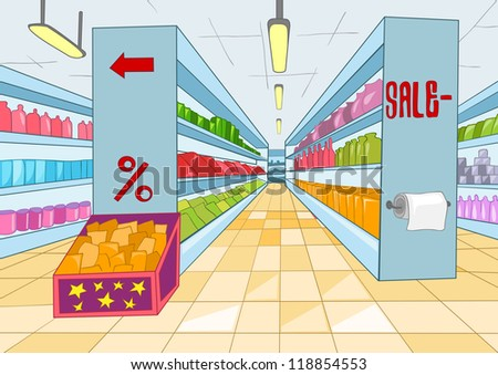 Supermarket with Long Shelfs. Vector Cartoon Background.