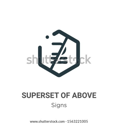 Superset of above not equal to symbol vector icon on white background. Flat vector superset of above not equal to symbol icon symbol sign from modern signs collection for mobile concept and web apps