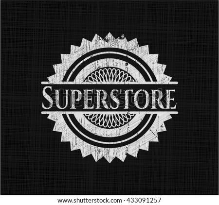 Superstore chalkboard emblem on black board