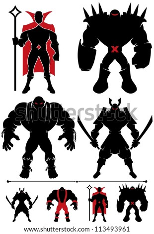 Stock Photo Supervillain Silhouette: 4 different supervillain silhouettes in 2 versions each.