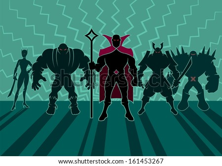 Stock Photo Supervillain Team: Team of superheroes. No transparency and gradients used.