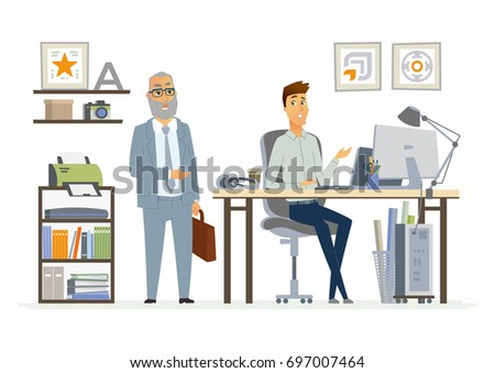 Supervising Staff - vector illustration of a business situation. Cartoon people characters of senior, young men at work. Manager, boss calling down, dissatisfied with subordinate, trainee, freshman