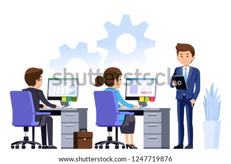 Supervisor manager Check the work of the office staff to ensure quality. Employees must develop organization to achieve mutual success.