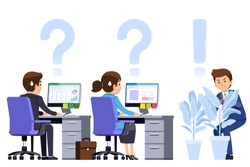 Supervisor watch the worker in office strictly. Playful ฺBoss concept. Work is rarely given the freedom of the employee.