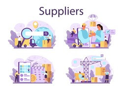 Suppliers concept set. B2B idea, global logistic distribution service. Company as a customer, business partnership. Modern technologies in sales. Isolated flat vector illustration
