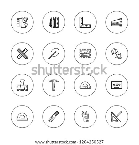 Supplies icon set. collection of 16 outline supplies icons with blood pressure gauge, floss, paperclip, ruler, school material, stamp, protractor, stapler, tape icons.