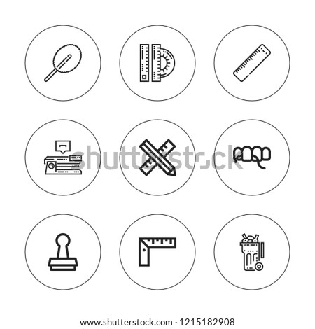 Supplies icon set. collection of 9 outline supplies icons with floss, ruler, stamp, stapler icons. editable icons.