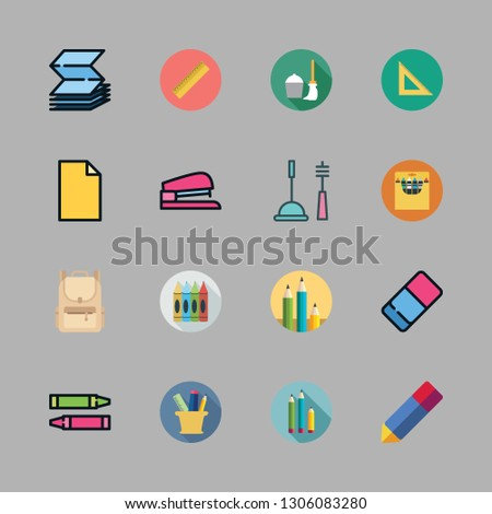 supplies icon set. vector set about set square, ruler, cleaning tools and pencil icons set.