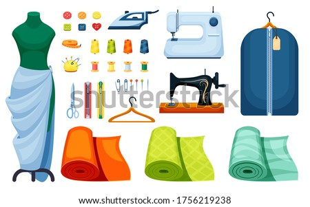 Supplies sewing set. Sewing machine white iron centimeter singer hanger scissors mannequin roll fitting of fabric orange pin yellow bobbin thread green spool button needle zipper. Clipart vector.