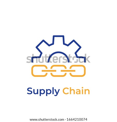 Supply Chain line color icon. Vector pictogram. Supply Chain symbol. Button for web page, mobile app, promo, UI/UX user interface
