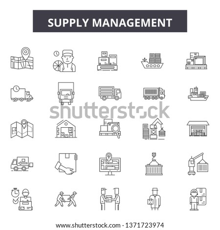 Supply management line icons, signs set, vector. Supply management outline concept, illustration: business,management,supply,industry,warehouse,delivery,chain