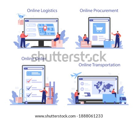 Supply online service or platform set. B2B idea, global logistic and transportation service. Company as a customer. Online logistics, transportation, procurement, order. Flat vector illustration
