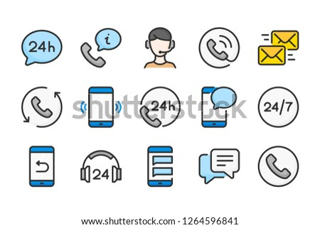 Support and callback service color line icons. Processing and online help vector linear colorful icon set. Isolated icon collection on white background.