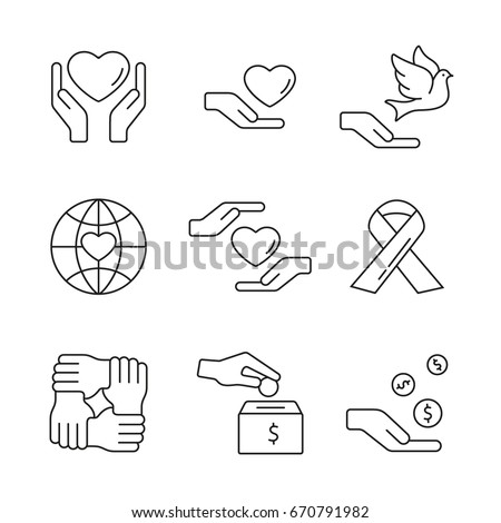Support and care: thin monochrome icon set, black and white kit