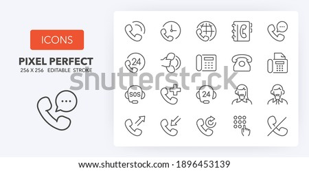 Support and phone calls. Thin line icon set. Outline symbol collection. Editable vector stroke. 256x256 Pixel Perfect scalable to 128px, 64px...