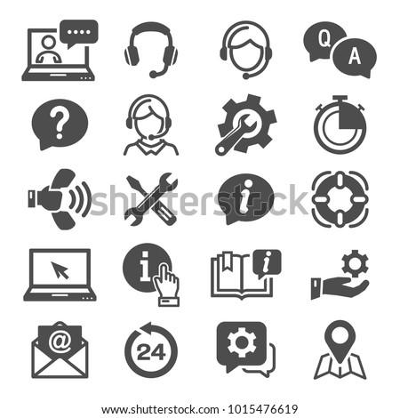 Support and Service Icons Vector.