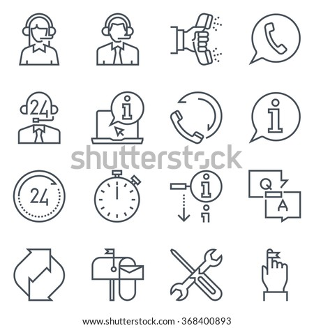 Support and telemarketer icon set suitable for info graphics, websites and print media. Black and white flat line icons.