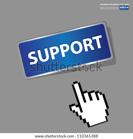 Support Button,sign with hand cursor,Vector