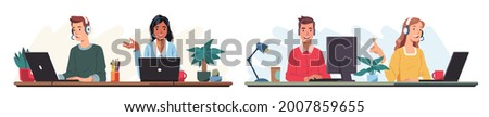Support call center people working in office wearing headsets, microphones, talking to customers. Operator consult clients on phone helpline. Customer support help service flat vector illustration