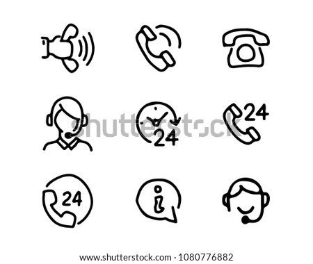 support center hand drawn icon set design illustration, hand drawn style design, designed web and app #1080776882