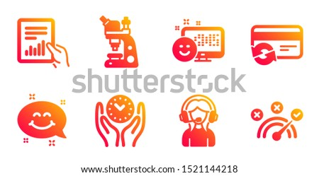 Support, Change card and Document line icons set. Smile, Smile chat and Safe time signs. Microscope, Correct answer symbols. Call center, Payment method. Technology set. Vector