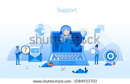 Support Concept for web page, banner, presentation, social media, documents, cards, posters. Vector illustration