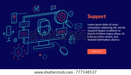 Support Concept for web page, banner, presentation. Vector illustration
