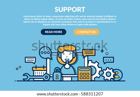 Support Concept for web page. Vector illustration